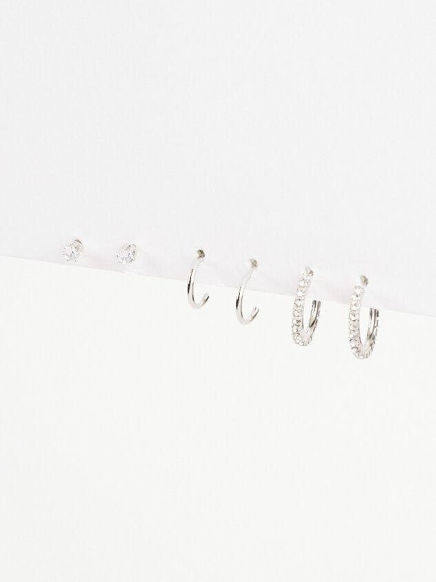 Rhinestone Mini Hoop Earring Set Detail 2 - Altar'd State