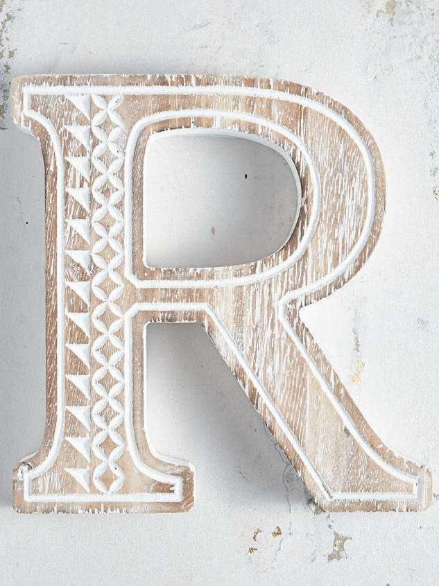 Wooden Monogram Letter Block - R - Altar'd State