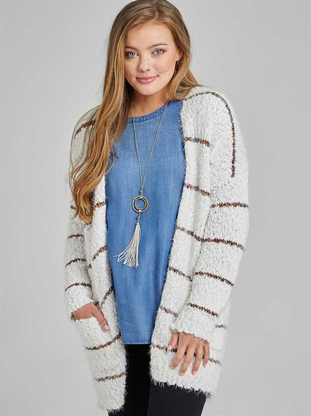 Spice Striped Eyelash Cardigan Sweater Detail 2 - Altar'd State