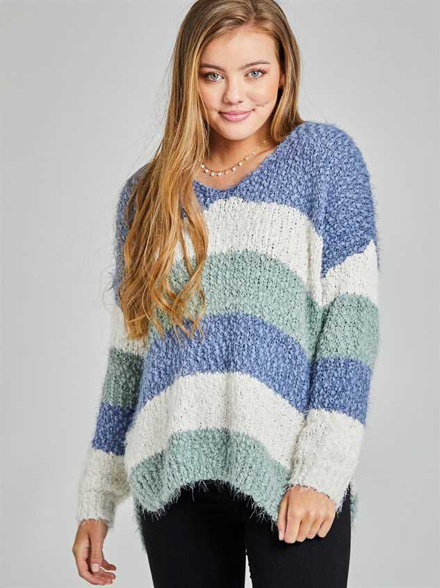 Tricolor Striped Eyelash Sweater - Altar'd State