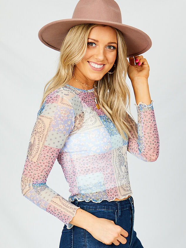 Patchwork Mesh Top - Lilac Detail 3 - Altar'd State