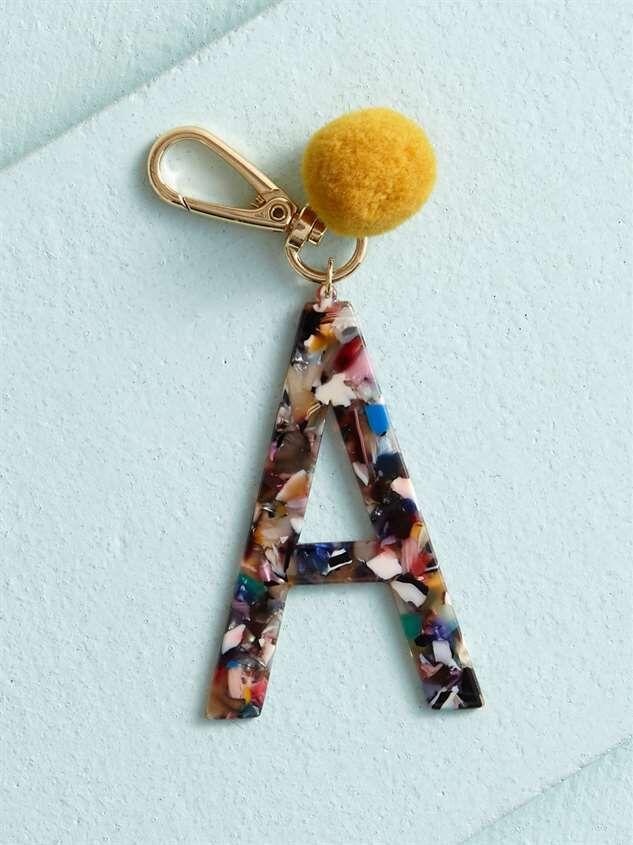 Acetate Pom Monogram Keychain - A - Altar'd State