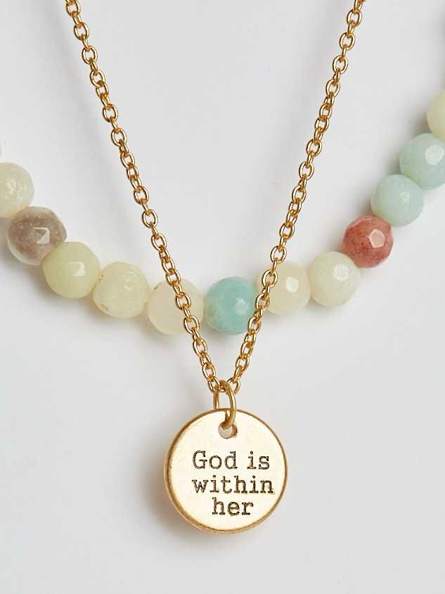 God is Within Her Layered Necklace - Altar'd State