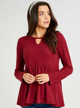Dreamin' In Thermal Peplum Top - Altar'd State