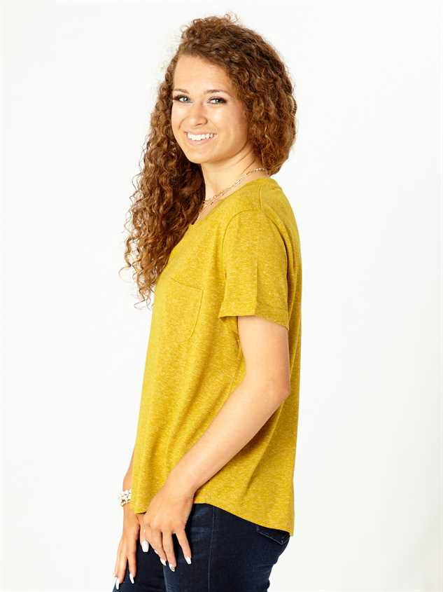 United By Blue Pocket Tee - Mustard Detail 2 - Altar'd State