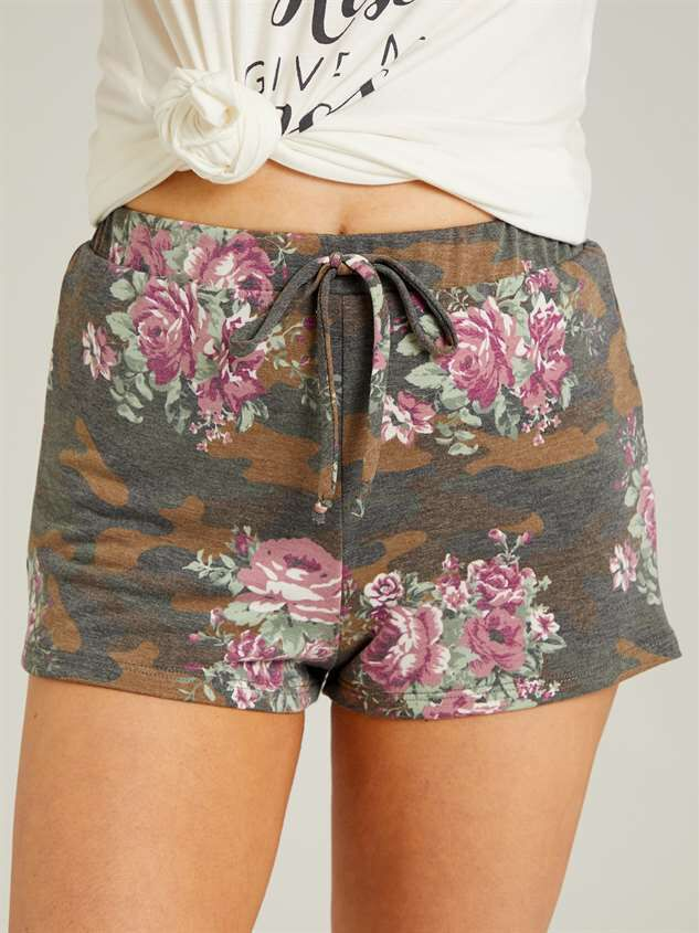 Camo Floral Sleep Shorts Detail 2 - Altar'd State