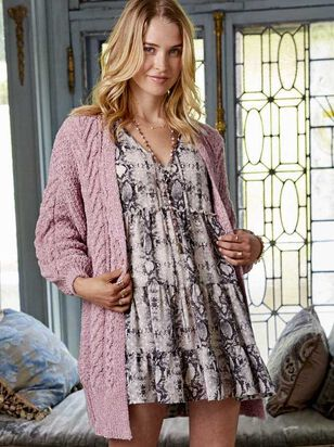 Chenille Cable Cardigan Sweater - Altar'd State
