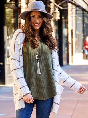 Lovely Lash Spice Striped Cardigan Sweater - Altar'd State