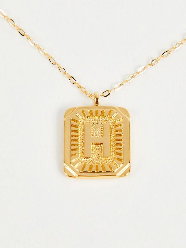 Burst Tag Monogram Necklace - H - Altar'd State