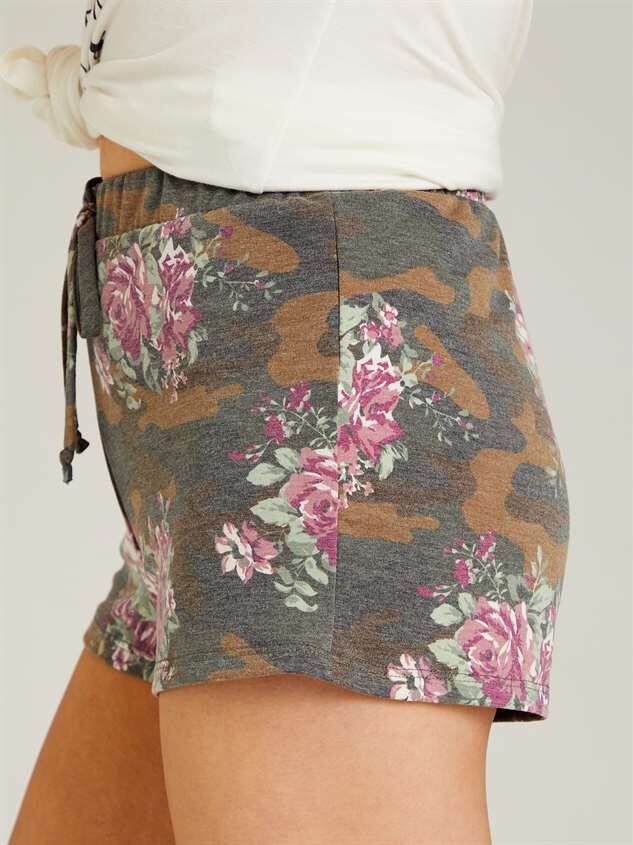 Camo Floral Sleep Shorts Detail 3 - Altar'd State