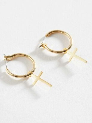 One with the Cross Mini Hoop Earrings - Altar'd State