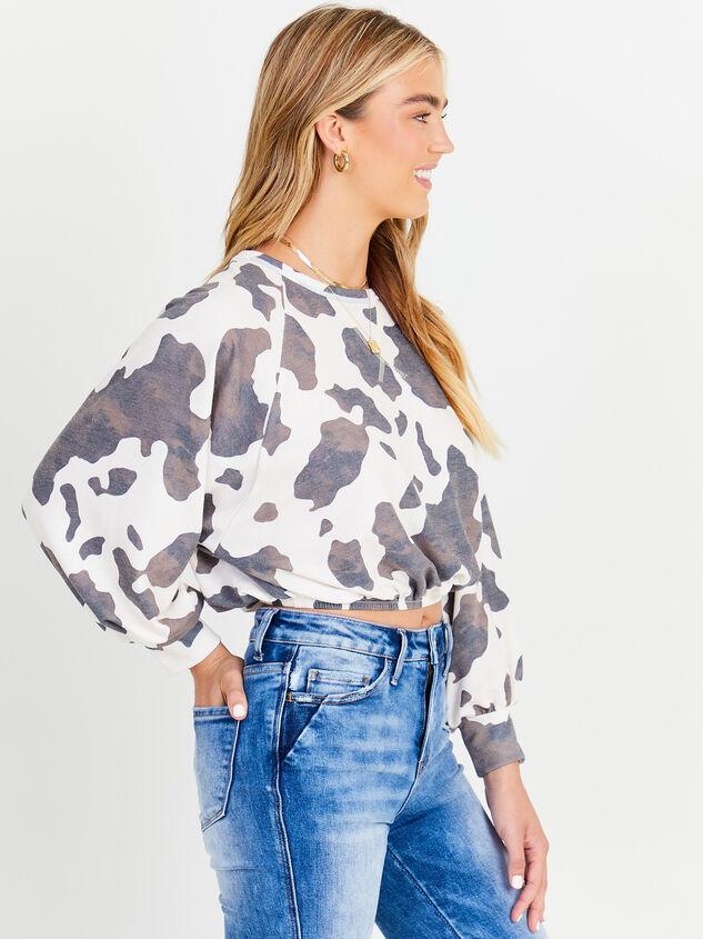 Cow Print Lightweight Sweatshirt Detail 2 - Altar'd State