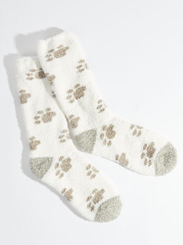 Paw Print Cozy Socks - White - Altar'd State