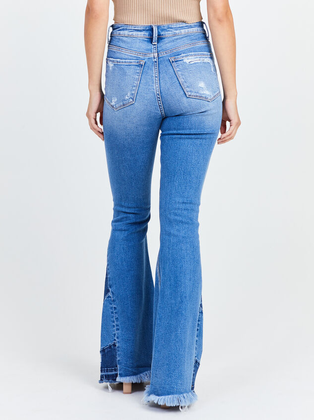 Distressed Piece Flare Jeans Detail 4 - Altar'd State