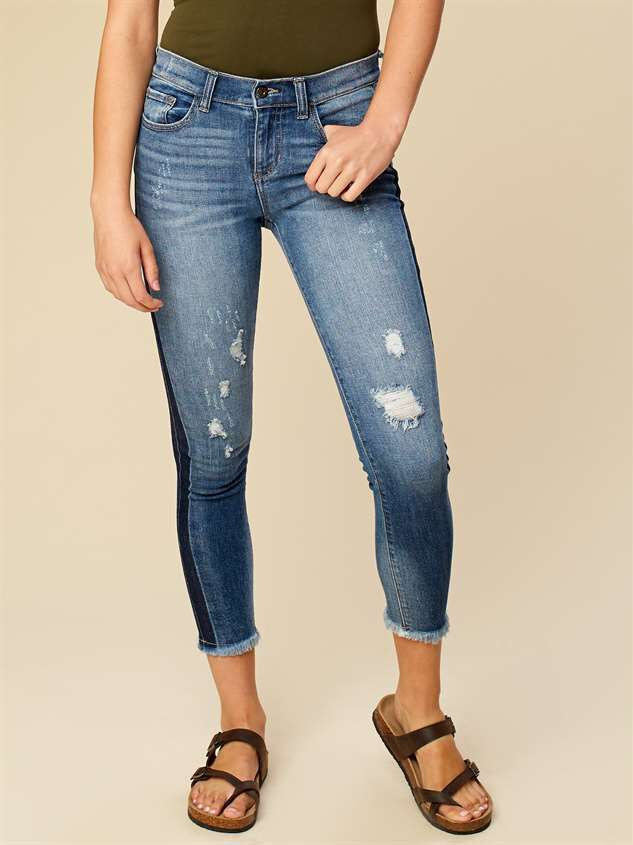 Two Tone Frayed Skinny Jeans - Altar'd State