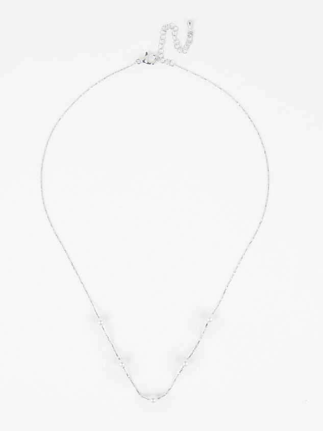 18k White Gold Pearl Charm Necklace Detail 2 - Altar'd State