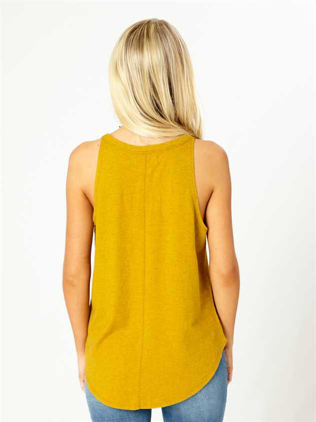 United By Blue High Neck Tank - Mustard Detail 3 - Altar'd State