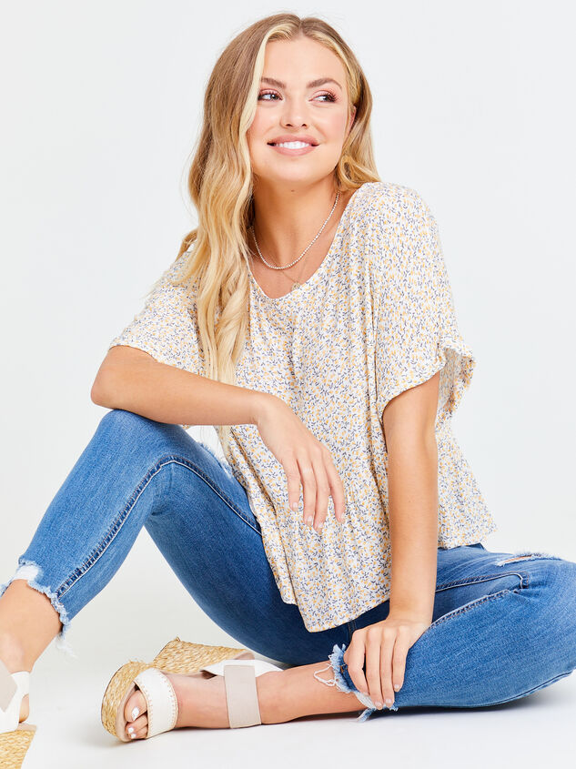 Ditsy Floral Roll Sleeve Top Detail 1 - Altar'd State