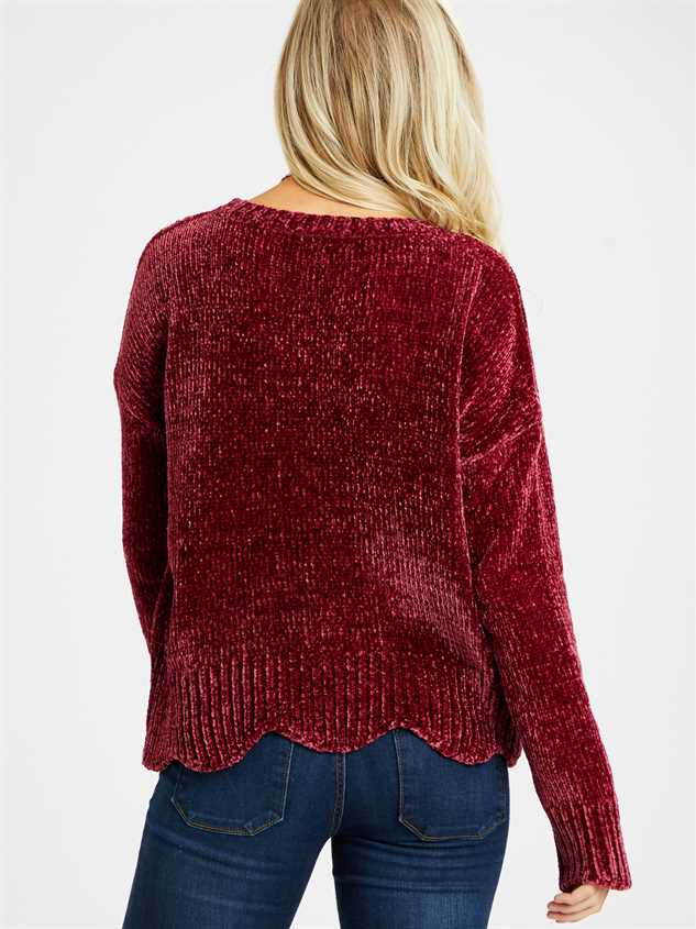 Eversoft Chenille Scalloped Sweater Detail 4 - Altar'd State