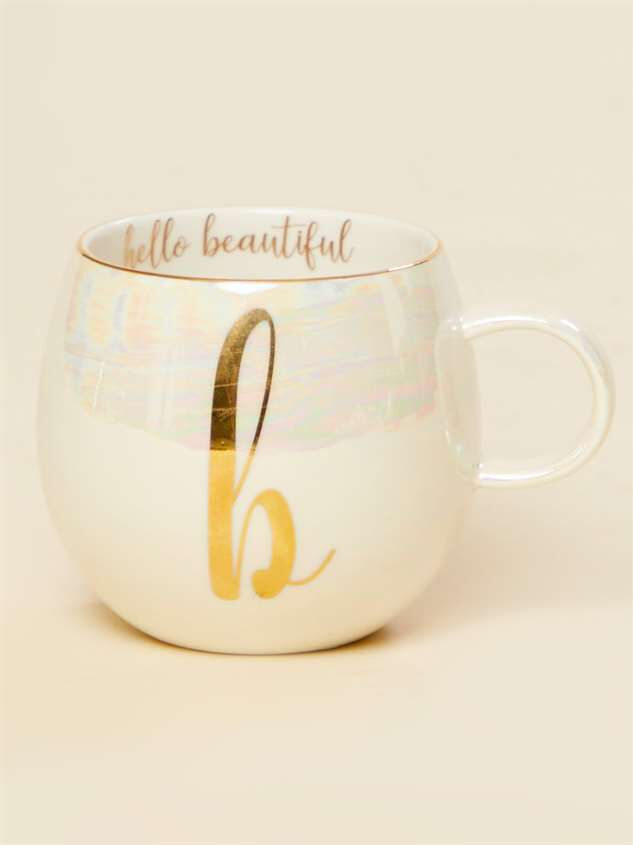 Hello Beautiful Iridescent Monogram Mug - B - Altar'd State