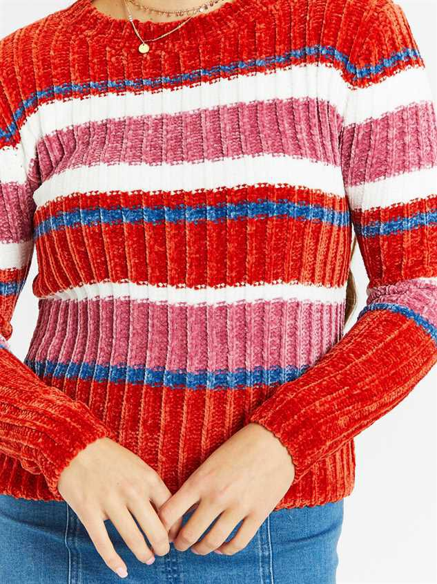 Eversoft Chenille Multi Stripe Sweater Detail 4 - Altar'd State