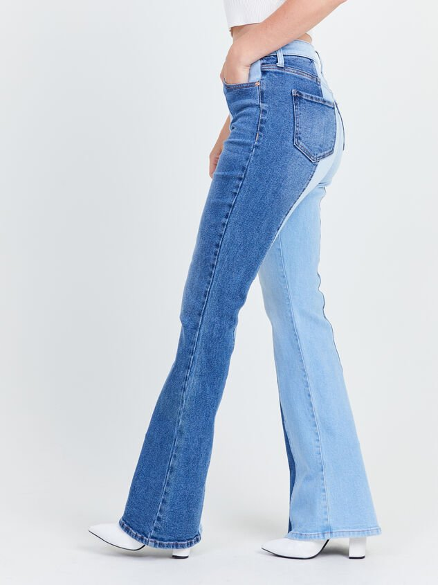 Two Toned Flare Jeans Detail 3 - Altar'd State