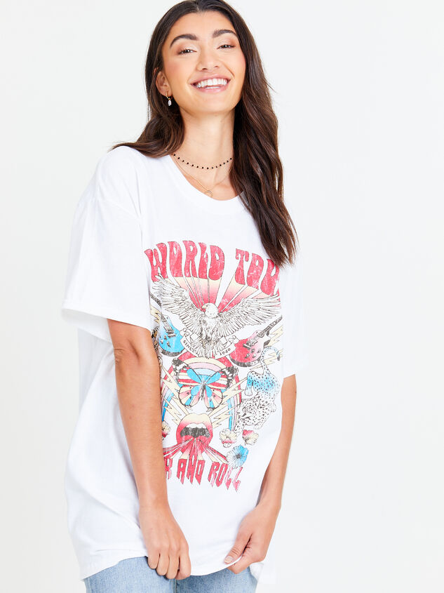 Rock n' Roll World Tour Oversized Tee Detail 1 - Altar'd State