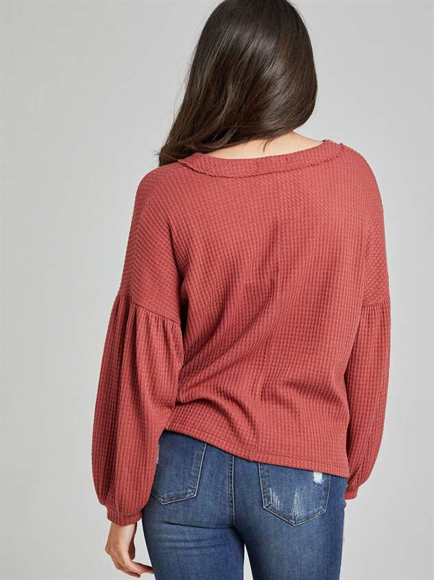 Dreamin' in Thermal Balloon Sleeve Top Detail 4 - Altar'd State